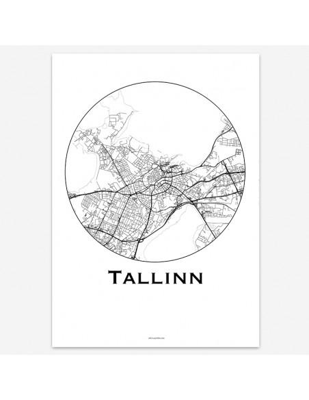 Affiche Poster Tallinn Estonie Minimalist Map