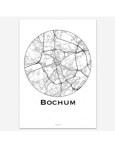 Affiche Poster Bochum Allemagne Minimalist Map