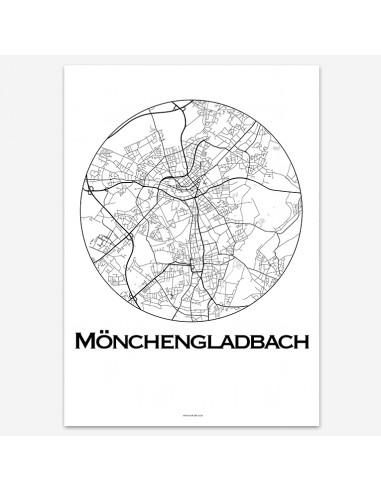 Affiche Poster Mönchengladbach Allemagne Minimalist Map