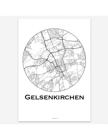 Affiche Poster Gelsenkirchen Allemagne Minimalist Map
