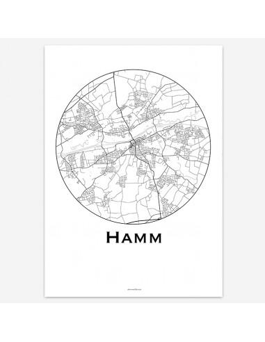 Affiche Poster Hamm Allemagne Minimalist Map