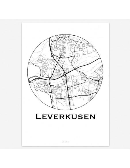 Affiche Poster Leverkusen Allemagne Minimalist Map