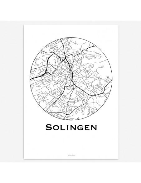 Affiche Poster Solingen Allemagne Minimalist Map
