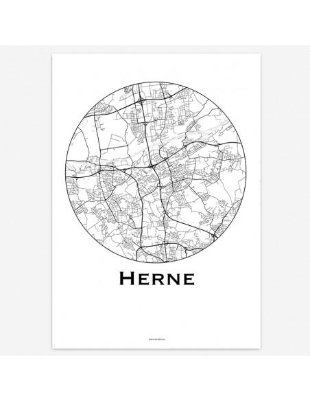 Affiche Poster Herne Allemagne Minimalist Map