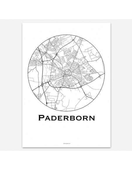 Affiche Poster Paderborn Allemagne Minimalist Map