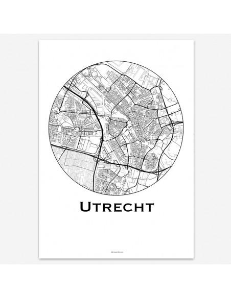 Affiche Poster Utrecht Pays-Bas Minimalist Map
