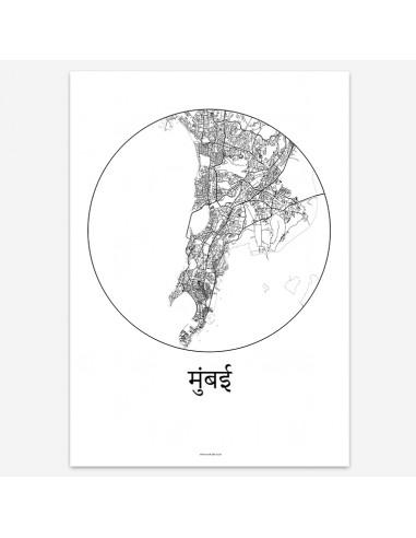 Affiche Poster Mumbai Inde Minimalist Map