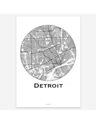 Affiche Poster Detroit USA Minimalist Map