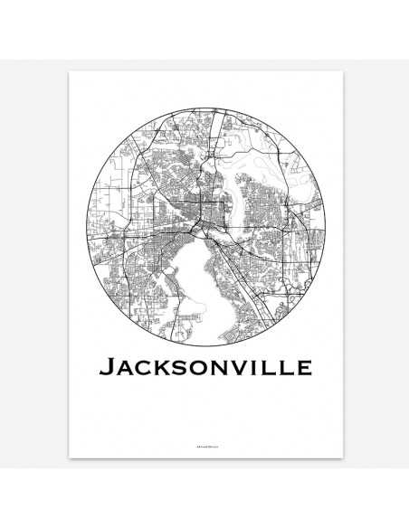 Affiche Poster Jacksonville Floride USA Minimalist Map