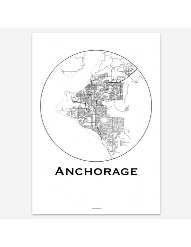 Affiche Poster Anchorage Alaska USA Minimalist Map