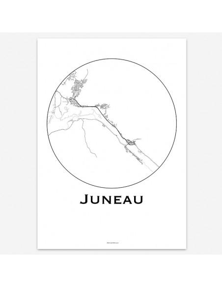Affiche Poster Juneau Alaska USA Minimalist Map