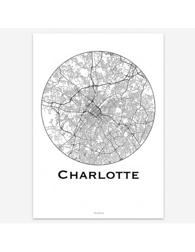 Affiche Poster Charlotte Caroline Du Nord USA Minimalist Map