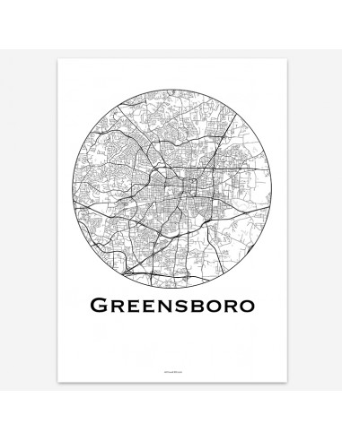 Affiche Poster Greensboro Caroline Du Nord USA Minimalist Map