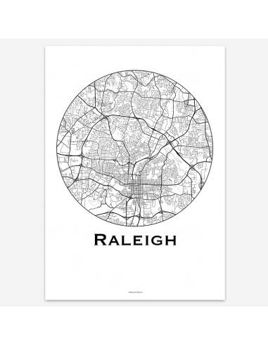 Affiche Poster Raleigh Caroline Du Nord USA Minimalist Map