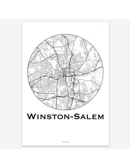 Affiche Poster Winston-Salem Caroline Du Nord USA Minimalist Map