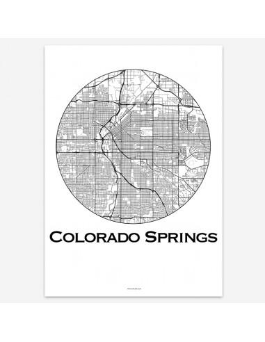 Affiche Poster Colorado Springs Colorado USA Minimalist Map