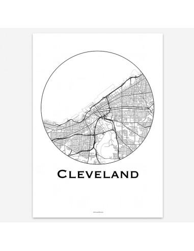 Affiche Poster Cleveland Ohio USA Minimalist Map
