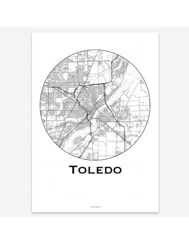 Affiche Poster Toledo Ohio USA Minimalist Map