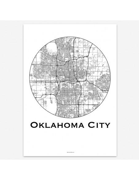 Affiche Poster Oklahoma City Oklahoma USA Minimalist Map