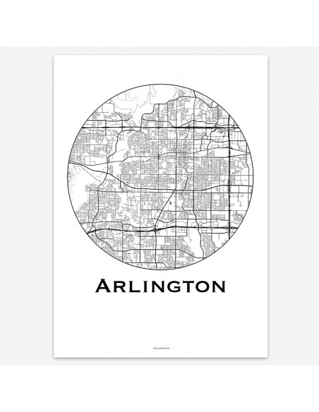 Affiche Poster Arlington Texas USA Minimalist Map