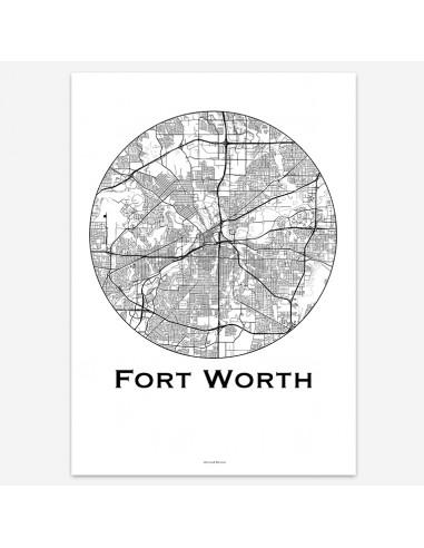 Affiche Poster Fort Worth Texas USA Minimalist Map