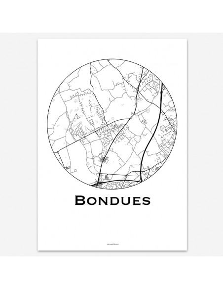 Affiche Poster Bondues France Minimalist Map