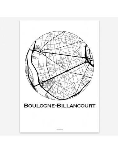 Affiche Poster Boulogne-Billancourt France Minimalist Map