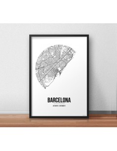Affiche Poster Barcelone Espagne Street Map