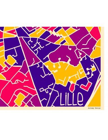 Affiche Lyon France Street Map