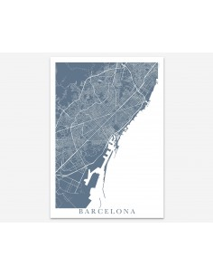 Poster Barcelona Spain France Unicolor Map