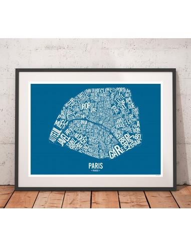 Affiche Marseille France Unicolor Map