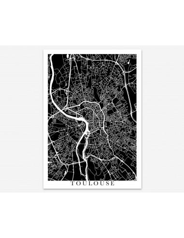 Affiche Lyon France Unicolor Map
