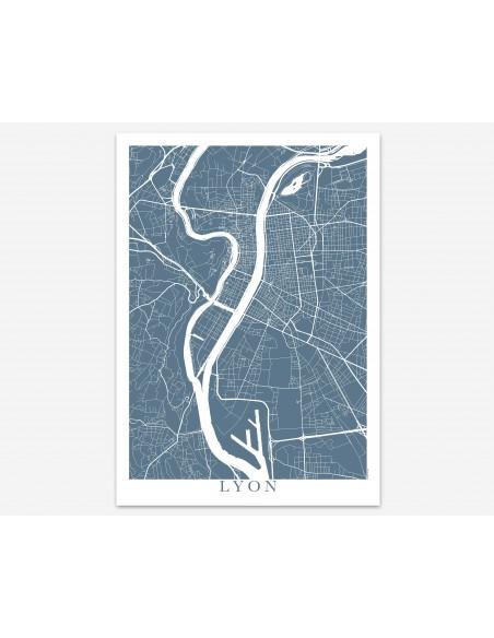 Affiche Poster Lyon France Unicolor Map