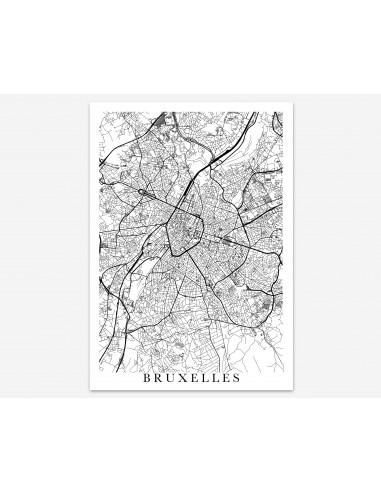 Poster Bruxelles Belgium Unicolor Map