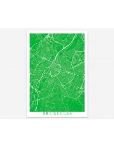 Affiche Poster Stockholm Suède Unicolor Map